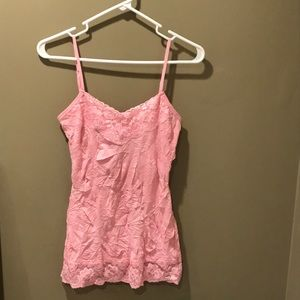 Solid lace crinkle cami